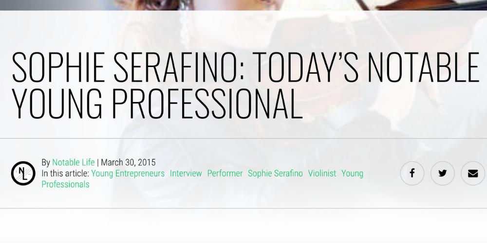Sophie is Featured as Today's Notable Young Professional